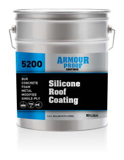 Image of United Asphalt's Armour Proof AP-5200 Silicone Roof Coating in 5 Gallon Pail