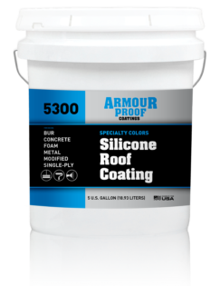 United Asphalt's Armour Proof AP-5300 Silicone Roof Coating in Specialty Colors in 5 Gallon Bucket